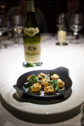 "Whelk - baked sea snails ""Rockefeller"" style, spinach, watercress, anise shallot butter"