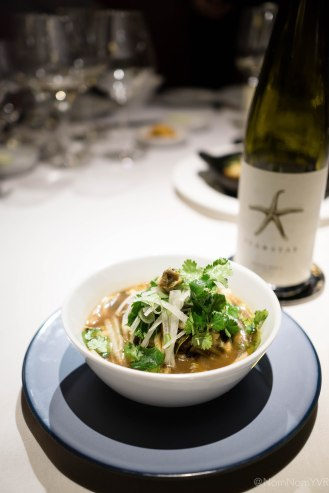 Slipper Limpet - hand pulled noodles in hot + sour broth, wood ear fungus, bamboo shoot, scallion, tofu, bok coy, chinese parsley